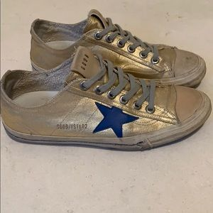 Golden Goose Gold Coated Canvas sneaker. Size 39